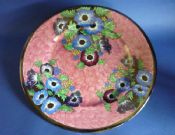 Superb Maling Rose Pink Lustre 'Anemone' Art Deco Wall Plaque c1937
